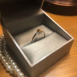 14K white gold and citrine ring